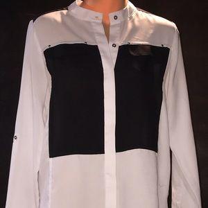 Kenneth Cole Women's XS Black White Blouse